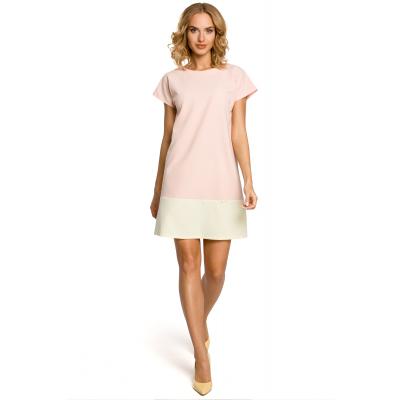 c7a3998a8f Dwukolorowa mini sukienka z krótkim rękawem - pudrowa