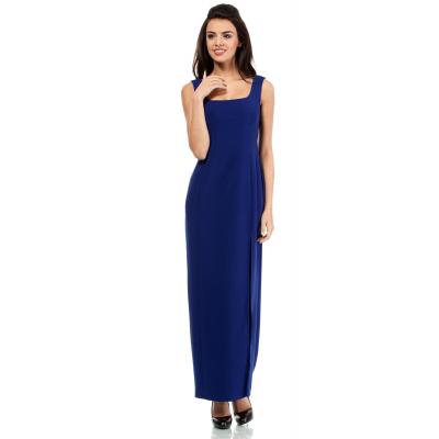 776d1db1a8 Wieczorowa długa sukienka z efektownym rozcięciem chabrowa MOE202