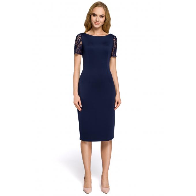 958f02c389 Sukienka wieczorowa z dekoltem i koronką na plecach granatowa MOE274