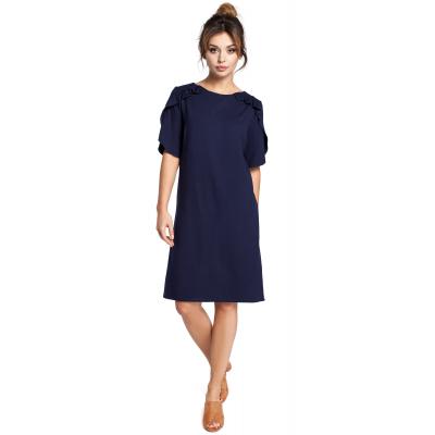 adee4f0ee5 Luźna krótka sukienka z krótkim rękawem z falbankami granatowa B035