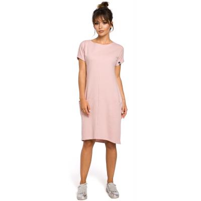 18821f3650 Sukienka midi z krótkim rękawem w sportowym stylu różowa B050