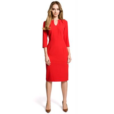 d60dbdbfa2 Elegancka ołówkowa sukienka z rękawem 3 4 do pracy czerwona M366
