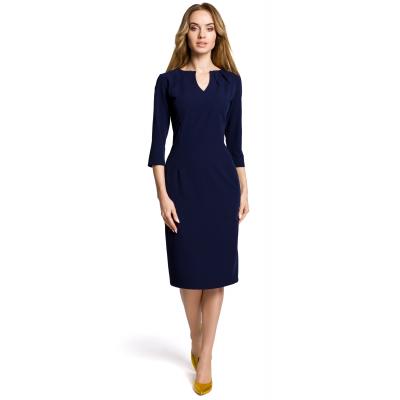 eaafa9c47f Elegancka ołówkowa sukienka z rękawem 3 4 do pracy granatowa M366