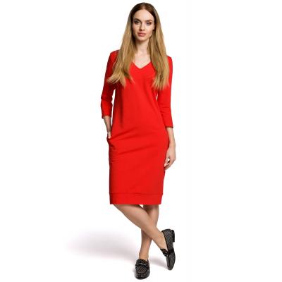 32cd6bd3b4 Prosta dłuższa sukienka z dekoltem w serek czerwona M371