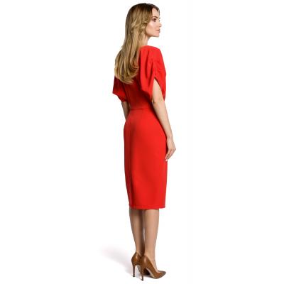 76e363fb6f Sukienka ołówkowa midi kimonowe rękawy czerwona M364