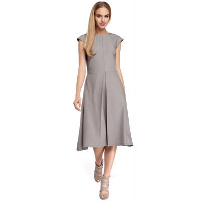 739833356d Sukienka midi bez rękawów z kontrafałdą na spódnicy szara M296