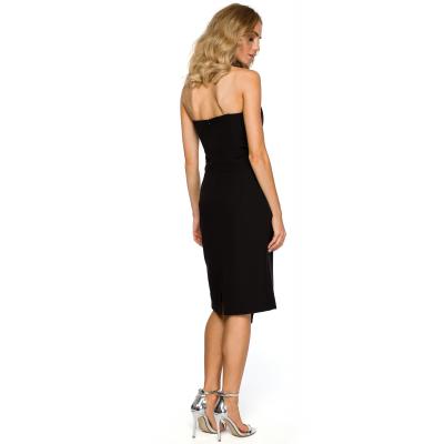 dfc57abb2b Asymetryczna sukienka wieczorowa z gorsetem czarna M409
