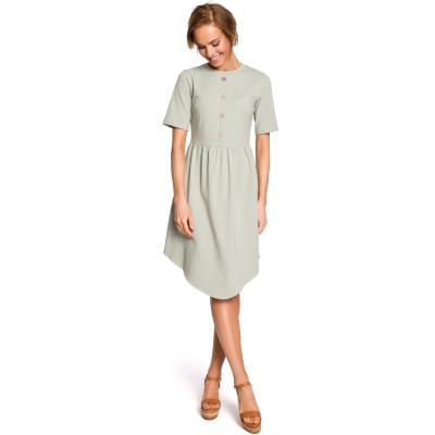 871ae028ba Bawełniana asymetryczna sukienka odcinana w pasie pistacjowa M434