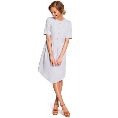 873df9bb27 Bawełniana asymetryczna sukienka odcinana w pasie szara M434