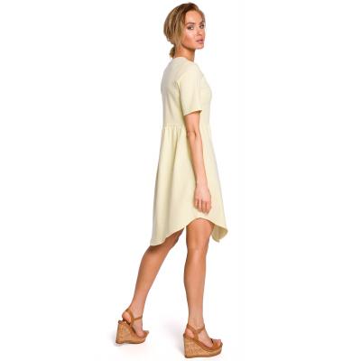 d6ff145424 Bawełniana asymetryczna sukienka odcinana w pasie żółta M434