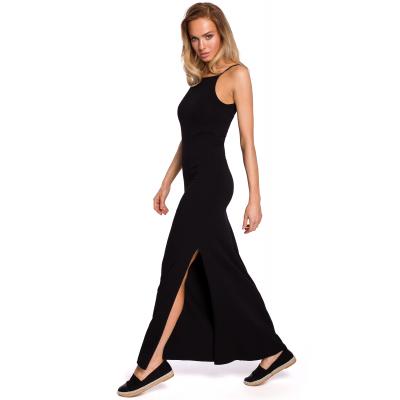 6ef15a8d75 Bawełniana letnia sukienka maxi na ramiączkach czarna M432