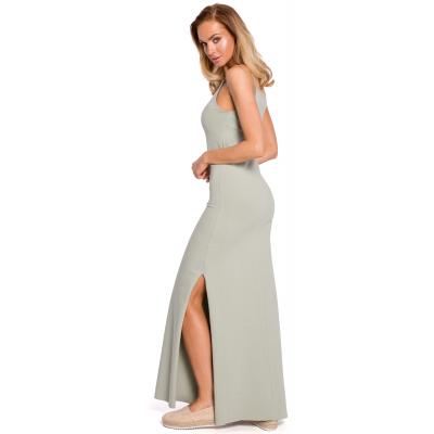 4a37e2ff7e Bawełniana letnia sukienka maxi na ramiączkach pistacjowa M432