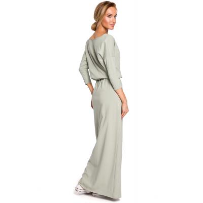 1ce07f3e4e Bawełniana luźna sukienka maxi podkreśloną talią pistacjowa M435