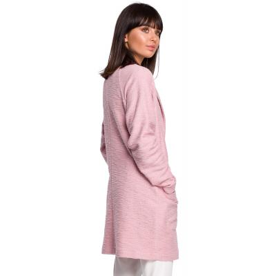 9ce31d319351d Dzianinowy płaszcz – marynarka na wiosnę zapinany na jeden guzik pudrowy  róż B099