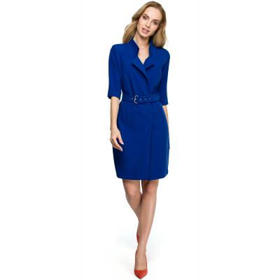 53eb35e4f2 Elegancka krótka sukienka żakietowa z paskiem w komplecie chabrowa S120