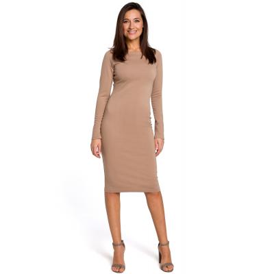 b4cb814de4 Elegancka sukienka ołówkowa z szerokim dekoltem beżowa S152