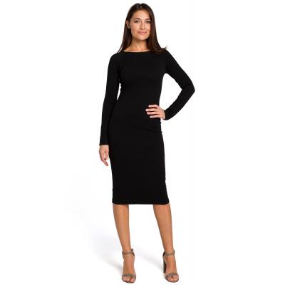 1bae4a5051 Elegancka sukienka ołówkowa z szerokim dekoltem czarna S152