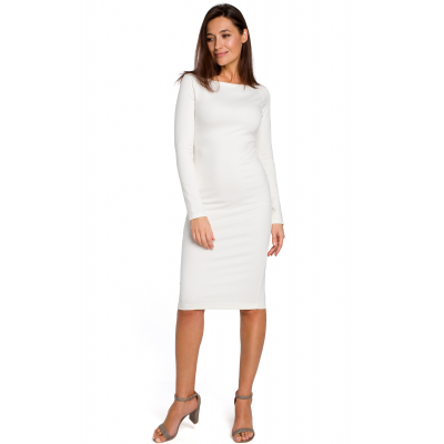 a8de47fc6b Elegancka sukienka ołówkowa z szerokim dekoltem ecru S152