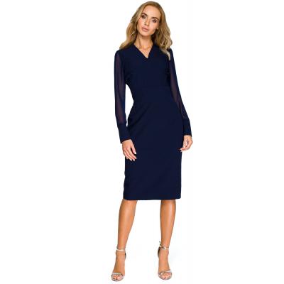 baa87c8929 Elegancka sukienka ołówkowa z szyfonowymi rękawami granatowa S136