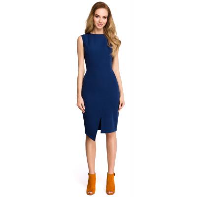 ba89d71655 Klasyczna elegancka sukienka bez rękawów z asymetrycznym rozcięciem  granatowa S105