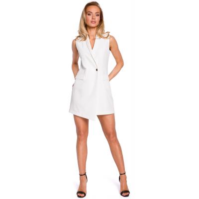 71c125ab60647 Koktajlowa sukienka marynarka bez rękawów ecru M439