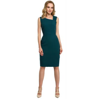 fa7cc953d Krótka elegancka sukienka ołówkowa z asymetrycznym dekoltem zielona M397