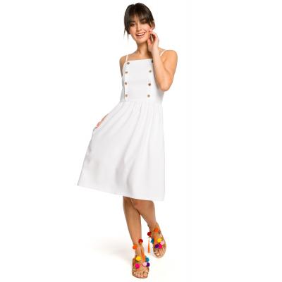 7fcb577613 Krótka sukienka na lato na ramiączkach odcinana w talii biała B113