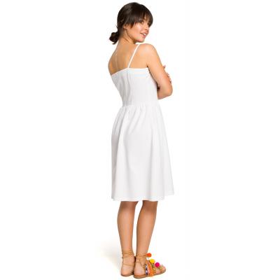 7b2729d414 Krótka sukienka na lato na ramiączkach odcinana w talii biała B113. Promocja