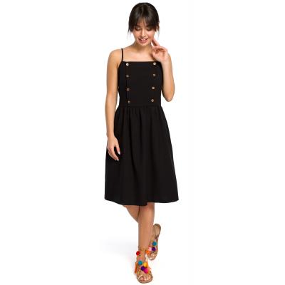 d71e71249d Krótka sukienka na lato na ramiączkach odcinana w talii czarna B113