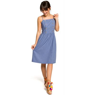 ad2c6ca78a Krótka sukienka na lato na ramiączkach odcinana w talii niebieska B113