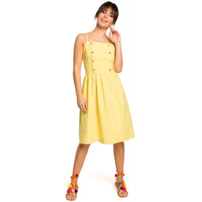 2d7fc63b16 Krótka sukienka na lato na ramiączkach odcinana w talii żółta B113