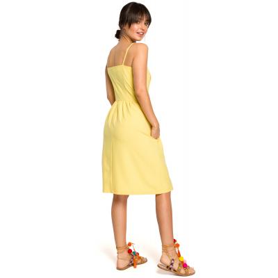 b39a2ef480 Krótka sukienka na lato na ramiączkach odcinana w talii żółta B113. Promocja