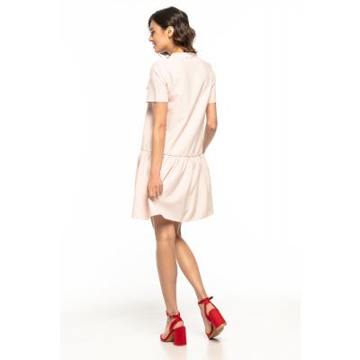 34a18de3e4 Letnia prosta sukienka z obniżonym stanem pudrowy róż T279