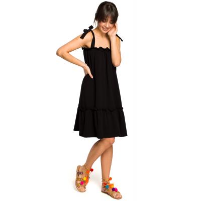 241dde4ca9 Luźna bawełniana sukienka na lato na wiązanych ramiączkach czarna B119