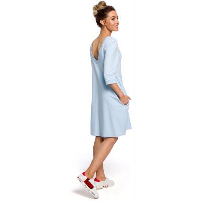 9bd9db83b3 Luźna bawełniana sukienka z dekoltem na plecach błękitna M417