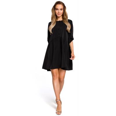 4eeaa26af4 Luźna rozkloszowana sukienka marszczona w pasie czarna M427