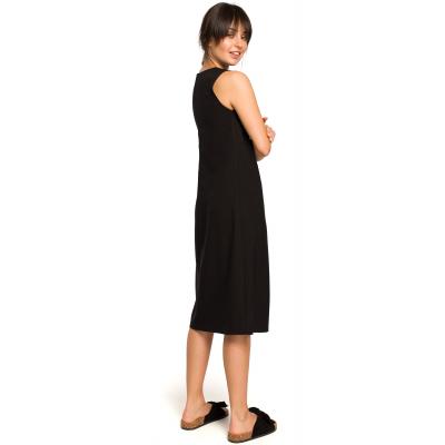 a759ec9269 Luźna sukienka długa na lato bez rękawów czarna B115