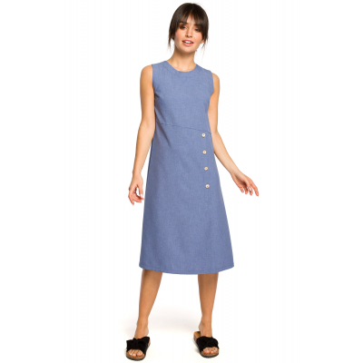 5028b6d2fe Luźna sukienka długa na lato bez rękawów niebieska B115
