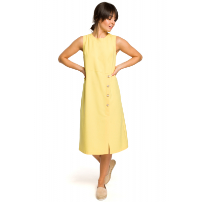 3b4ed5cd89 Luźna sukienka długa na lato bez rękawów żółta B115