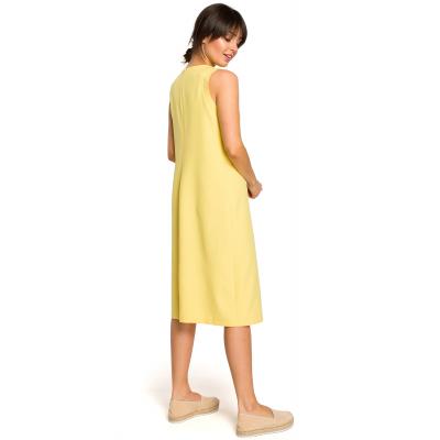 e9dfe3d72b Luźna sukienka długa na lato bez rękawów żółta B115. Promocja