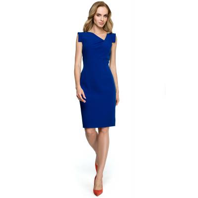 ef9ad0f2cd Ołówkowa sukienka bez rękawów z asymetrycznym dekoltem chabrowa S121