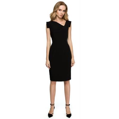 d2bbe2f07d Ołówkowa sukienka bez rękawów z asymetrycznym dekoltem czarna S121