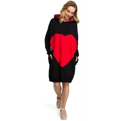 b4ac1cf6ab Oversizowa sukienka sportowa z kapturem czarna M387