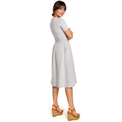 a601667425 Prosta bawełniana sukienka midi na co dzień z paskiem szara B120