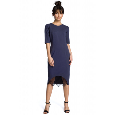 8f5cba7e8d Prosta bawełniana sukienka midi z wstawką z koronki niebieska B078