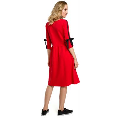 24d75559fb Prosta bawełniana sukienka z wiązaniem na rękawach czerwona M388