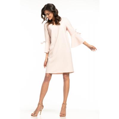 c79a7f73fe Prosta luźna sukienka mini z rękawami z falbaną pudrowy róż