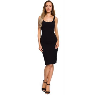 af23705fb6 Prosta obcisła bawełniana sukienka mini na ramiączkach czarna M414
