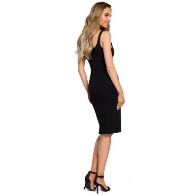 9f794e0b9941ac Prosta obcisła bawełniana sukienka mini na ramiączkach czarna M414