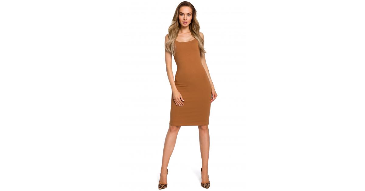 97b13cf422 Polecasz  Prosta obcisła bawełniana sukienka mini na ramiączkach karmelowa